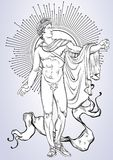 Apollon. The mythological hero of ancient Greece. Hand-drawn beautiful vector artwork . Myths and legends. Tattoo art, pri. Nts, posters, cards Royalty Free Stock Images