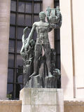 Apollon statue Paris. Apollon Greek deity statue in front of Palais Chaillot Paris France Royalty Free Stock Photography