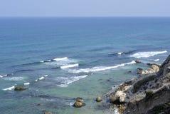 Apollonia beach near Tel Aviv. Royalty Free Stock Images