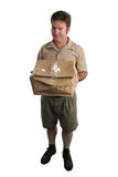 Apologetic Delivery Man. A delivery man holding a smashed package and looking apologetic. Full view, isolated stock photos