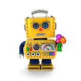 Apologetic toy robot asking for forgiveness Stock Photo