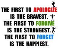 Apologize forgive forget. The difference between apologizing, forgiving and forgetting Stock Photo