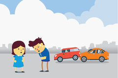 Apologizes for car accident royalty free illustration