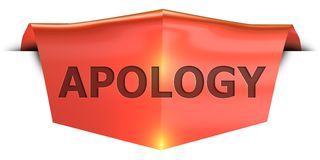 Banner apology. Apology 3D rendered red banner , isolated on white background Royalty Free Stock Image