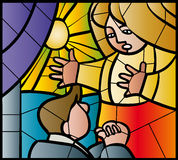 Apology stained glass. Man in front of woman hands clasped stained glass Stock Photo