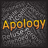 Apology,Word cloud art background Stock Image