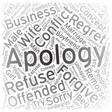 Apology,Word cloud art background Royalty Free Stock Photos