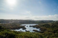 Apond nära en strand i Menorca omgav av växter som visar deras härliga natur Royaltyfri Fotografi