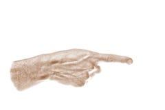 Apontando à direita, mão, sepia Fotografia de Stock