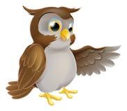 Apontando a coruja dos desenhos animados Imagem de Stock