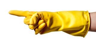 Apontando a luva de borracha desgastando da mão Foto de Stock Royalty Free
