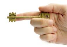 Apontando a mão com uma chave Imagem de Stock Royalty Free