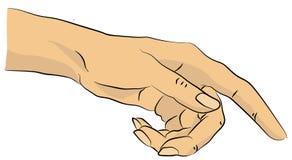 Apontando a mão da mulher Foto de Stock