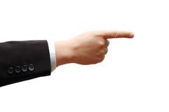 Apontando a mão do homem de negócio imagem de stock
