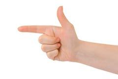 Apontando a mão (ou o tiro) Imagens de Stock