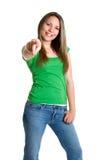 Apontando a menina adolescente Fotos de Stock Royalty Free