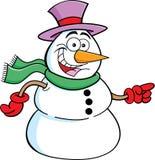 Apontando o boneco de neve ilustração do vetor