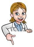Apontando o cientista Character Sign dos desenhos animados Imagens de Stock Royalty Free