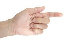 Apontando o close-up da mão ou do toque isolado Imagem de Stock Royalty Free