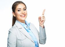 Apontando o dedo Mulher de negócio de sorriso imagens de stock