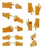 Apontando o grupo do ícone da mão 3d Imagens de Stock