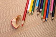 Apontando o lápis da cor vermelha Fotos de Stock