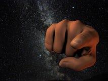 Apontar cósmico do dedo Fotos de Stock Royalty Free