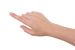Apontar da mão isolado no branco imagem de stock royalty free