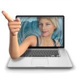 Apontar da menina do computador Imagens de Stock