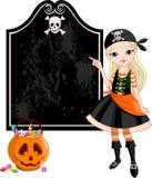 Apontar da menina do pirata de Halloween Imagens de Stock Royalty Free