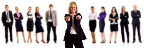 Apontar da mulher de negócio Imagens de Stock