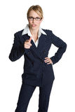 Apontar da mulher de negócios Imagem de Stock