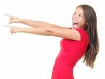 Apontar da mulher excitado Fotografia de Stock Royalty Free