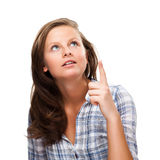 Apontar da mulher isolado no fundo branco imagens de stock