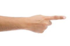 Apontar do dedo da mão isolado no fundo branco fotografia de stock royalty free