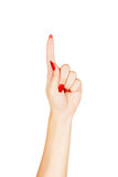 Apontar do dedo da mulher Imagem de Stock Royalty Free