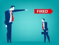 Apontar do gerente ateado fogo no homem de negócios Perdendo um trabalho desempregados imagem de stock royalty free