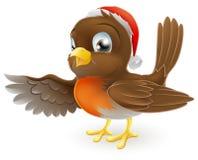 Apontar do pássaro do pisco de peito vermelho do Natal ilustração stock