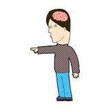 apontar inteligente do homem dos desenhos animados cômicos ilustração stock