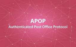 Apop authenticated post office protocol text illustration with red constellation map as background. Vector Stock Photography