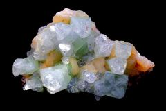 Apophyllite and Stilbite crystals. Apophyllite and Stilbite crystal. A mix of beautiful transparent to white Apophyllite and pink Stilbite crystals. Crystals can Stock Photo