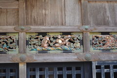 3 apor i den Nikko Toshougu templet, Tochigi, Japan Royaltyfri Bild