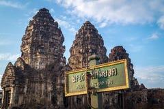 Apor som framme klättrar av en tempel arkivbilder