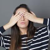 Aport pojęcie dla pouting brunetki dziewczyny Zdjęcie Royalty Free