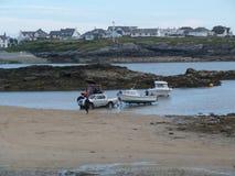 Aportowe łodzie od zatoka krajobrazu Zdjęcia Royalty Free