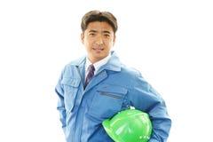 APortrait ενός εργαζομένου με το σκληρό καπέλο Στοκ φωτογραφία με δικαίωμα ελεύθερης χρήσης