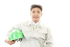 APortrait ενός εργαζομένου με το σκληρό καπέλο Στοκ Φωτογραφία