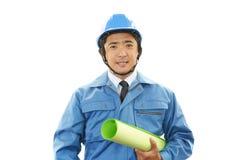 APortrait ενός εργαζομένου με το σκληρό καπέλο Στοκ φωτογραφίες με δικαίωμα ελεύθερης χρήσης