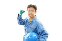 APortrait ενός εργαζομένου με το σκληρό καπέλο Στοκ εικόνα με δικαίωμα ελεύθερης χρήσης