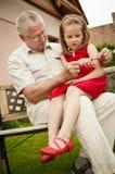 Aposentadoria feliz - grandparent com neto imagem de stock